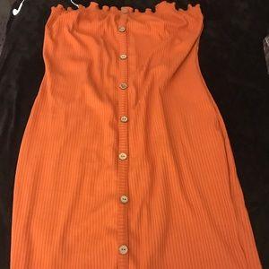 Strapless Orange Ruffle Dress